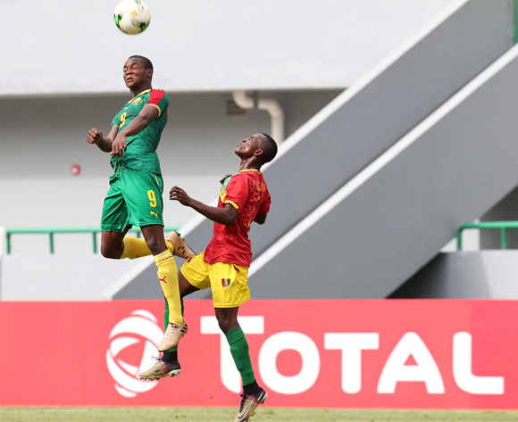 Stephane Thierry Zobo of Cameroon challenged by Ibrahima Sory Soumah of Guinea during the 2017 Under 17 Africa Cup of Nations Finals football match between Guinea and Cameroon at the Port Gentil Stadium, Gabon on 17 May 2017 ©Muzi Ntombela/BackpagePix