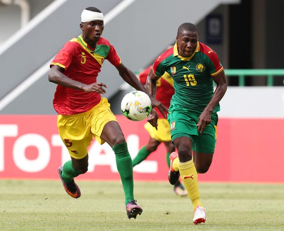 Moise Sakava Sangola of Cameroon challenged by Issiaga Camara of Guinea during the 2017 Under 17 Africa Cup of Nations Finals football match between Guinea and Cameroon at the Port Gentil Stadium, Gabon on 17 May 2017 ©Muzi Ntombela/BackpagePix
