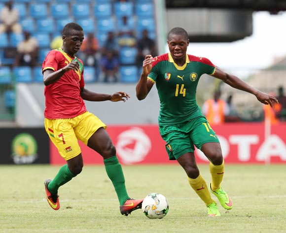 Steve Kingue of Cameroon challenged by Djibril Fandje Toure of Guinea during the 2017 Under 17 Africa Cup of Nations Finals football match between Guinea and Cameroon at the Port Gentil Stadium, Gabon on 17 May 2017 ©Muzi Ntombela/BackpagePix