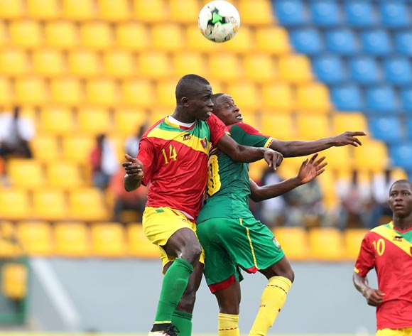 Moise Sakava Sangola of Cameroon challenged by Salia Bangoura of Guinea during the 2017 Under 17 Africa Cup of Nations Finals football match between Guinea and Cameroon at the Port Gentil Stadium, Gabon on 17 May 2017 ©Muzi Ntombela/BackpagePix