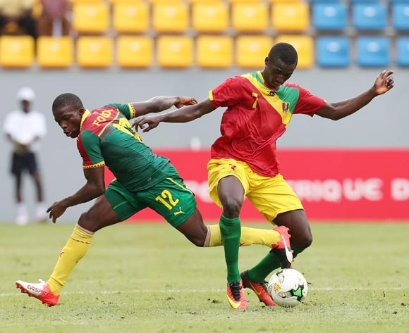 Djibril Fandje Toure of Guinea challenged by Aloys Fouda of Cameroon during the 2017 Under 17 Africa Cup of Nations Finals football match between Guinea and Cameroon at the Port Gentil Stadium, Gabon on 17 May 2017 ©Muzi Ntombela/BackpagePix