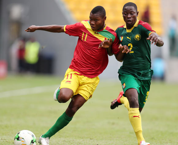 Djibril Sylla of Guinea challenged by Ahmad Toure Ngouyamsa Nounchili of Cameroon during the 2017 Under 17 Africa Cup of Nations Finals football match between Guinea and Cameroon at the Port Gentil Stadium, Gabon on 17 May 2017 ©Muzi Ntombela/BackpagePix