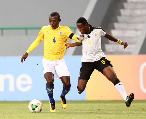 Edmund Arko Mensah of Ghana challenged by Aziz Giroly Bourobou Mombo of Gabon during the 2017 Under 17 Africa Cup of Nations Finals football match between Ghana and Gabon at the Port Gentil Stadium, Gabon on 17 May 2017 ©Muzi Ntombela/BackpagePix