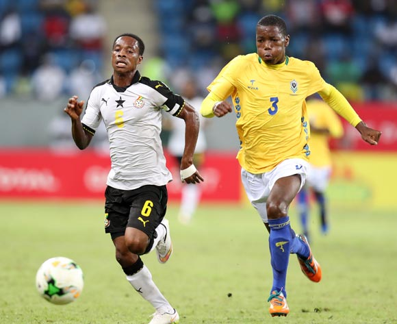 Eric Ayiah of Ghana challenged by Elian Christely Boueni Mayobolo of Gabon during the 2017 Under 17 Africa Cup of Nations Finals football match between Ghana and Gabon at the Port Gentil Stadium, Gabon on 17 May 2017 ©Muzi Ntombela/BackpagePix