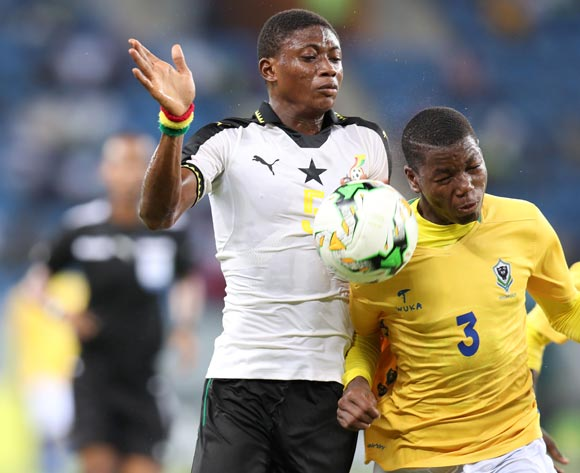 Najeeb Yakubu of Ghana challenged by Elian Christely Boueni Mayobolo of Gabon during the 2017 Under 17 Africa Cup of Nations Finals football match between Ghana and Gabon at the Port Gentil Stadium, Gabon on 17 May 2017 ©Muzi Ntombela/BackpagePix