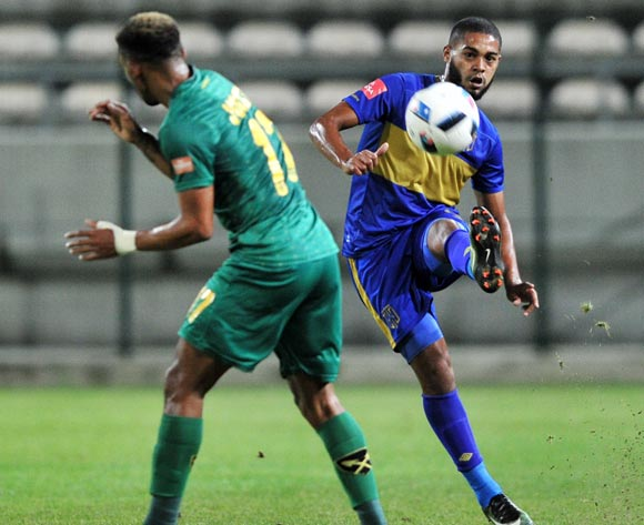 Ebrahim Seedat of Cape Town City passes as he challenged by Wayde Jooste of Golden Arrows during the Absa Premiership 2016/17 game between Cape Town City and Golden Arrows at Athlone Stadium, Cape Town on 18 May 2017 © Ryan Wilkisky/BackpagePix