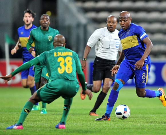 Lebogang Manyama of Cape Town City runs at Romario Dlamini during the Absa Premiership 2016/17 game between Cape Town City and Golden Arrows at Athlone Stadium, Cape Town on 18 May 2017 © Ryan Wilkisky/BackpagePix
