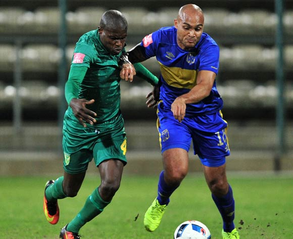 Lerato Lamola of Golden Arrows and Robyn Johannes of Cape Town City FC during the Absa Premiership 2016/17 game between Cape Town City and Golden Arrows at Athlone Stadium, Cape Town on 18 May 2017 © Ryan Wilkisky/BackpagePix