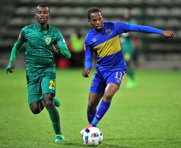 Aubrey Ngoma of Cape Town City goes past Nduduzo Sibiya of Golden Arrows during the Absa Premiership 2016/17 game between Cape Town City and Golden Arrows at Athlone Stadium, Cape Town on 18 May 2017 © Ryan Wilkisky/BackpagePix