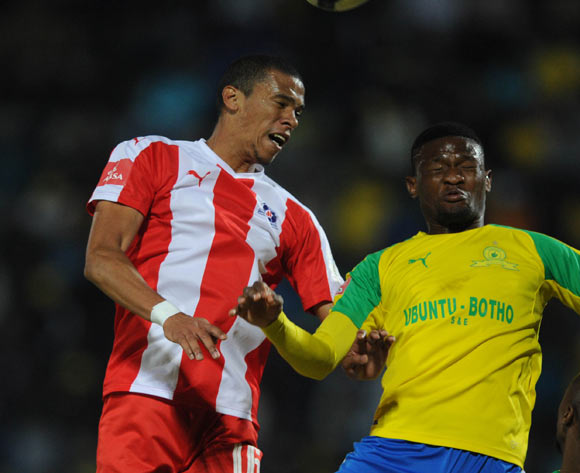 Bevan Fransman of Maritzburg United is challenged by Motjeka Madisha of Mamelodi Sundowns during the Absa Premiership match between Mamelodi Sundowns and Maritzburg United on 17 May 2017 at Lucas Moripe Stadium © Sydney Mahlangu /BackpagePix