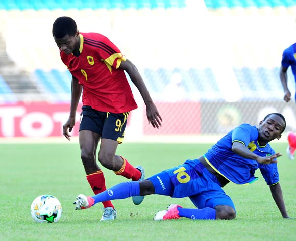 Jelson Joao Mivo of Angola challenged by Asad Ali Juma of Tanzania during the 2017 Under 17 Africa Cup of Nations Finals football match between Tanzania and Angola at the Libreville Stadium in Gabon on 18 May 2017 ©Samuel Shivambu/BackpagePix