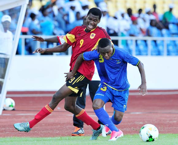 Nickson Clement Kibabage of Tanzania challenged by Jelson Joao Mivo of Angola during the 2017 Under 17 Africa Cup of Nations Finals football match between Tanzania and Angola at the Libreville Stadium in Gabon on 18 May 2017 ©Samuel Shivambu/BackpagePix