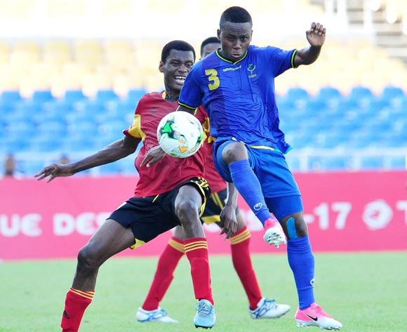 Jelson Joao Mivo of Angola challenged by Nickson Clement Kibabage of Tanzania during the 2017 Under 17 Africa Cup of Nations Finals football match between Tanzania and Angola at the Libreville Stadium in Gabon on 18 May 2017 ©Samuel Shivambu/BackpagePix
