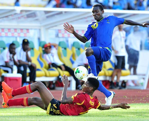 Asad Ali Juma of Tanzania challenged by Miguel Anselmo Basilio Daniel of Angola during the 2017 Under 17 Africa Cup of Nations Finals football match between Tanzania and Angola at the Libreville Stadium in Gabon on 18 May 2017 ©Samuel Shivambu/BackpagePix