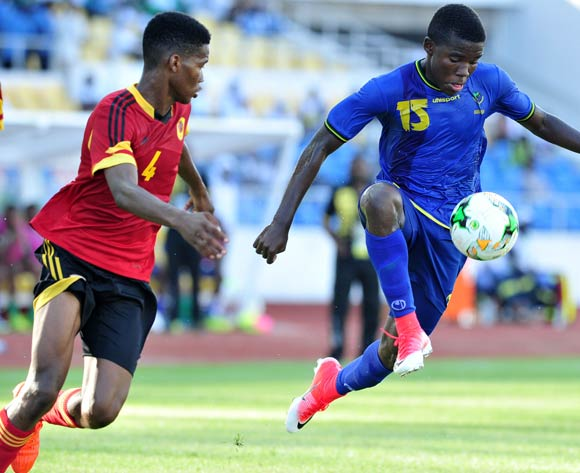 Yohana Oscar Mkomola of Tanzania challenged by Euclides Moises Fernando Dos Santos of Angola during the 2017 Under 17 Africa Cup of Nations Finals football match between Tanzania and Angola at the Libreville Stadium in Gabon on 18 May 2017 ©Samuel Shivambu/BackpagePix