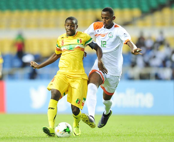 Mohamed Camara of Mali challenged by Djibrilla Ibrahim Mossi of Niger during the 2017 Under 17 Africa Cup of Nations Finals football match between Niger and Mali at the Libreville Stadium in Gabon on 18 May 2017 ©Samuel Shivambu/BackpagePix