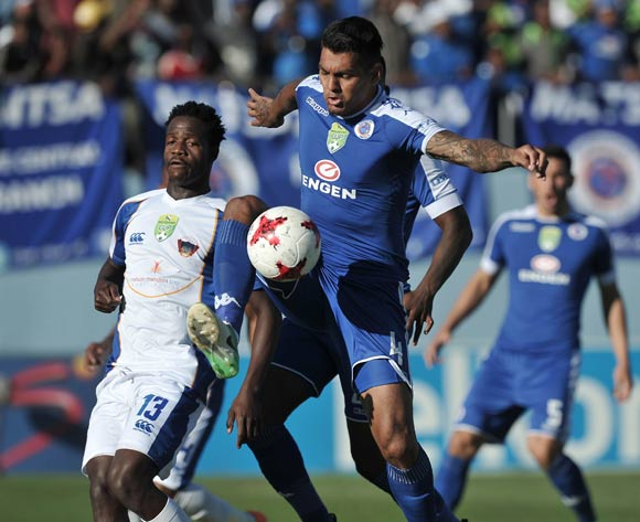 Clayton Daniels of Supersport United and Xolani Mdaki of Chippa United during the 2017 Nedbank Cup semifinal game between Chippa United and Supersport United at Sisa Dukashe Stadium, East London on 20 May 2017 © Luigi Bennett/BackpagePix