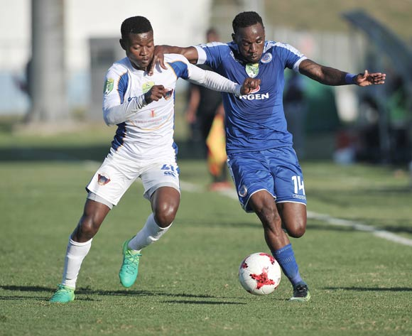 Menzi Masuku of Chippa United and Onismor Bhasera of Supersport United during the 2017 Nedbank Cup semifinal game between Chippa United and Supersport United at Sisa Dukashe Stadium, East London on 20 May 2017 © Luigi Bennett/BackpagePix