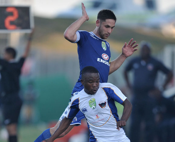 Paseka Mako of Chippa United gets past Dean Furman of Supersport United during the 2017 Nedbank Cup semifinal game between Chippa United and Supersport United at Sisa Dukashe Stadium, East London on 20 May 2017 © Luigi Bennett/BackpagePix