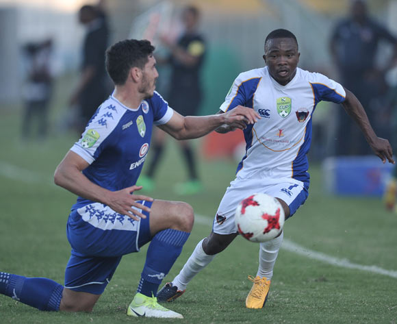 Michael Boxall of Supersport United and Paseka Mako of Chippa United during the 2017 Nedbank Cup semifinal game between Chippa United and Supersport United at Sisa Dukashe Stadium, East London on 20 May 2017 © Luigi Bennett/BackpagePix
