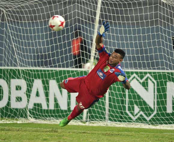 Ronwen Williams of Supersport United saving a penalty during the 2017 Nedbank Cup semifinal game between Chippa United and Supersport United at Sisa Dukashe Stadium, East London on 20 May 2017 © Luigi Bennett/BackpagePix