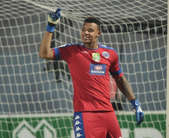 Ronwen Williams of Supersport United celebrates after saving a penalty during the 2017 Nedbank Cup semifinal game between Chippa United and Supersport United at Sisa Dukashe Stadium, East London on 20 May 2017 © Luigi Bennett/BackpagePix
