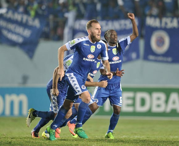Supersport United players celebrate after wining in the penalty shoot out during the 2017 Nedbank Cup semifinal game between Chippa United and Supersport United at Sisa Dukashe Stadium, East London on 20 May 2017 © Luigi Bennett/BackpagePix