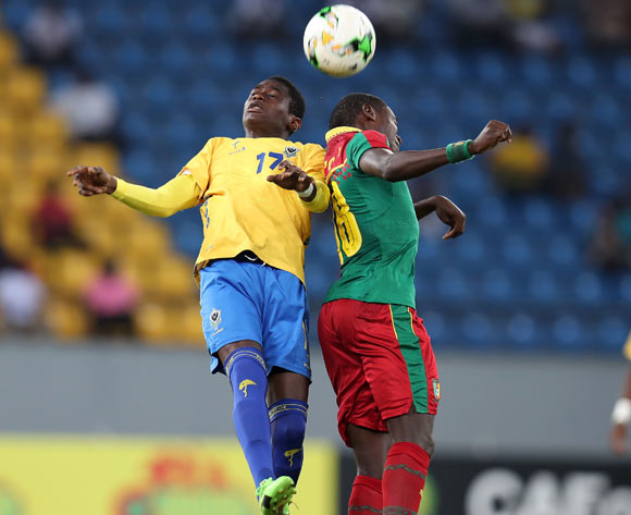 James Armel Etoo Eyenga of Cameroon challenged by Alain Rodrick Miyogho of Gabon during the 2017 Under 17 Africa Cup of Nations Finals football match between Gabon and Cameroon at the Port Gentil Stadium, Gabon on 20 May 2017 ©Muzi Ntombela/BackpagePix