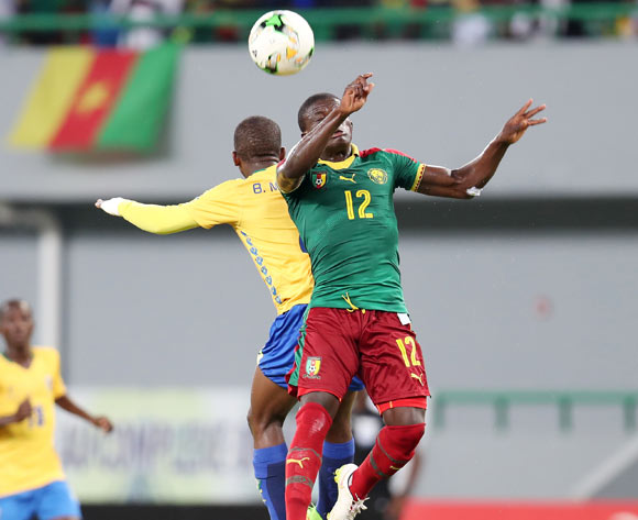 Meshak Babanzila Mayala of Gabon challenged by Aloys Fouda of Cameroon during the 2017 Under 17 Africa Cup of Nations Finals football match between Gabon and Cameroon at the Port Gentil Stadium, Gabon on 20 May 2017 ©Muzi Ntombela/BackpagePix