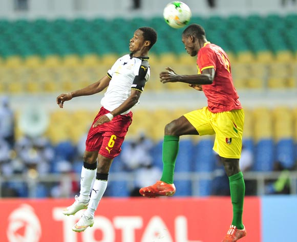 Eric Ayiah of Ghana challenged by Mohamed Cherif Camara of Guinea during the 2017 Under 17 Africa Cup of Nations Finals football match between Guinea and Ghana at the Libreville Stadium in Gabon on 20 May 2017 ©Samuel Shivambu/BackpagePix