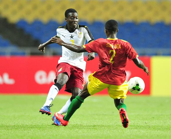 Ibrahim Sulley of Ghana challenged by Samuel Conte of Guinea during the 2017 Under 17 Africa Cup of Nations Finals football match between Guinea and Ghana at the Libreville Stadium in Gabon on 20 May 2017 ©Samuel Shivambu/BackpagePix