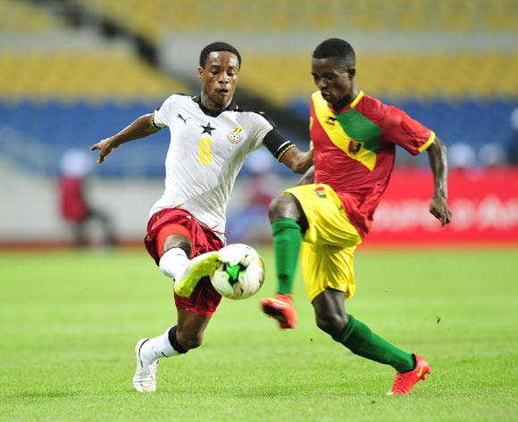 Eric Ayiah of Ghana challenged by Samuel Conte of Guinea during the 2017 Under 17 Africa Cup of Nations Finals football match between Guinea and Ghana at the Libreville Stadium in Gabon on 20 May 2017 ©Samuel Shivambu/BackpagePix