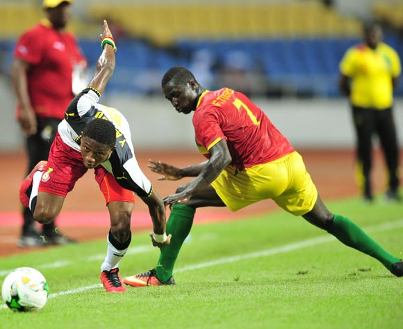 Najeeb Yakubu of Ghana challenged by Djibril Fandje Toure of Guinea during the 2017 Under 17 Africa Cup of Nations Finals football match between Guinea and Ghana at the Libreville Stadium in Gabon on 20 May 2017 ©Samuel Shivambu/BackpagePix