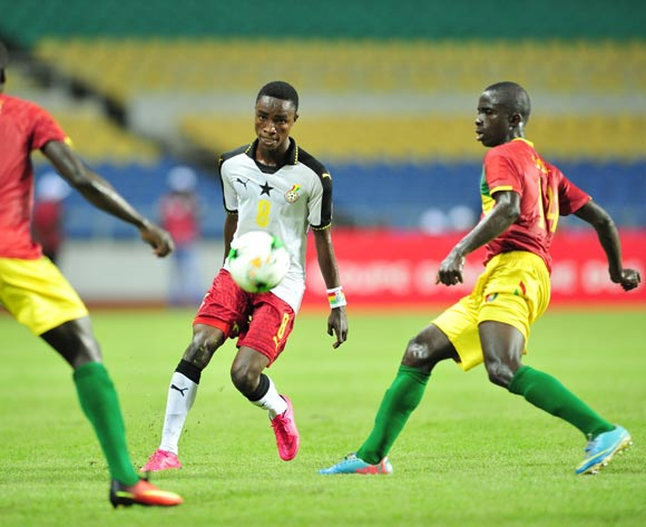 Isaac Antah of Ghana challenged by Djibril Fandje Toure and Salia Bangoura of Guinea during the 2017 Under 17 Africa Cup of Nations Finals football match between Guinea and Ghana at the Libreville Stadium in Gabon on 20 May 2017 ©Samuel Shivambu/BackpagePix