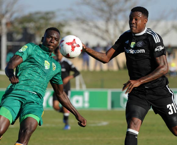 Thamsanqa Gabuza of Orlando Pirates challenged by Limbikani Mzava of Golden Arrows during the Nedbank Cup Semi Final  match between Golden Arrows and Orlando Pirates on 21 May 2017 at Princess Magogo Stadium © Sydney Mahlangu /BackpagePix