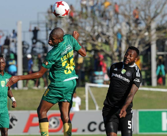 Romario Dlamini of Golden Arrows challenged by Mpho Makola of Orlando Pirates during the Nedbank Cup Semi Final  match between Golden Arrows and Orlando Pirates on 21 May 2017 at Princess Magogo Stadium © Sydney Mahlangu /BackpagePix