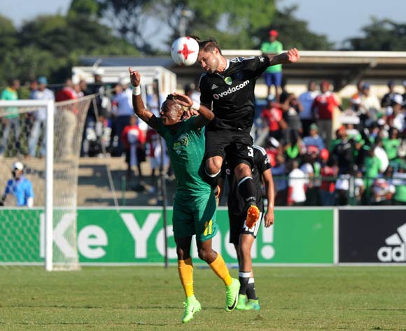 Kudakwashe Mahachi of Golden Arrows challenged by Mark Van Heerden of Orlando Pirates during the Nedbank Cup Semi Final  match between Golden Arrows and Orlando Pirates on 21 May 2017 at Princess Magogo Stadium © Sydney Mahlangu /BackpagePix