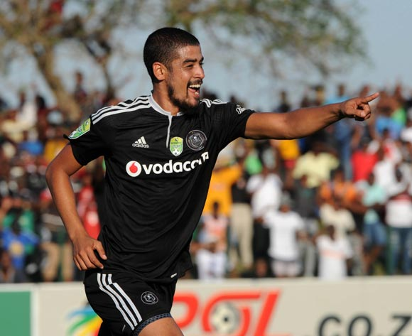 Abbubaker Mobara of Orlando Pirates celebrates his goal during the Nedbank Cup Semi Final  match between Golden Arrows and Orlando Pirates on 21 May 2017 at Princess Magogo Stadium © Sydney Mahlangu /BackpagePix