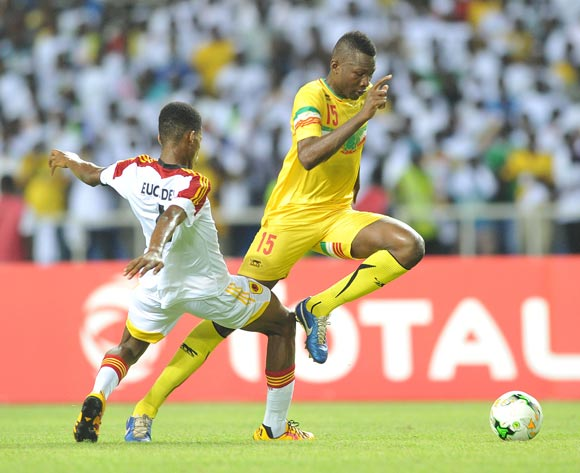 Abdoulaye Diaby of Mali tackled by Euclides Moises Fernando Dos Santos of Angola during the 2017 Under 17 Africa Cup of Nations Finals football match between Mali and Angola at the Libreville Stadium in Gabon on 21 May 2017 ©Samuel Shivambu/BackpagePix