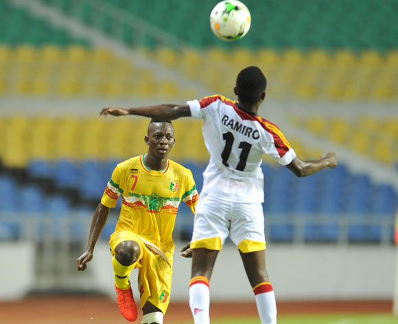 Hadji Drame of Mali challenged by Ramiro Joao Paulo of Angola during the 2017 Under 17 Africa Cup of Nations Finals football match between Mali and Angola at the Libreville Stadium in Gabon on 21 May 2017 ©Samuel Shivambu/BackpagePix
