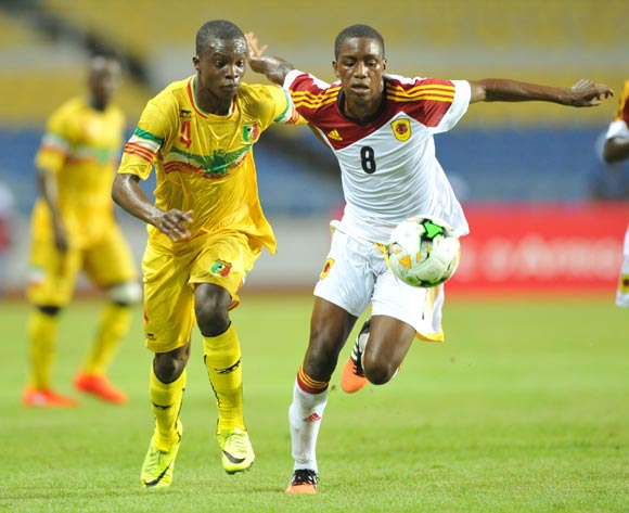 Orlando Luis Secali of Angola challenged by Fode Konate of Mali during the 2017 Under 17 Africa Cup of Nations Finals football match between Mali and Angola at the Libreville Stadium in Gabon on 21 May 2017 ©Samuel Shivambu/BackpagePix