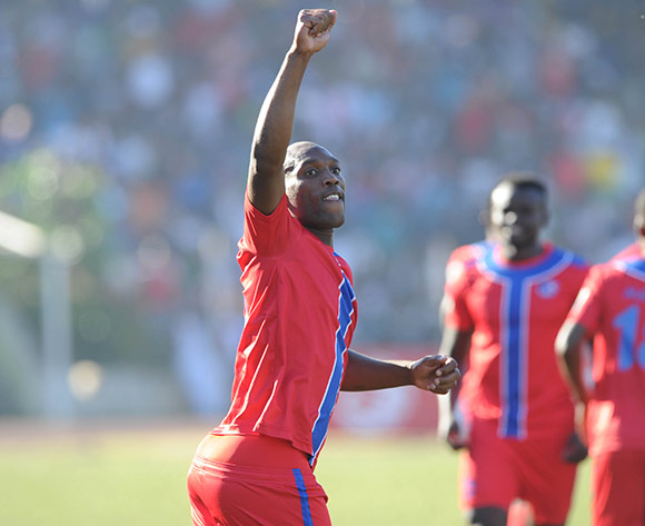 Sabelo Ndzinisa of Mbabane Swallows celebrates a goal during the  CAF Confederation Cup  match between Mbabane Swallows and Platinum Stars on 23 May 2017 at Somhlolo Stadium  © Sydney Mahlangu /BackpagePix