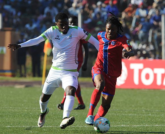 Benson Shilongo of Platinum Stars challenges  Papy Kampamba of Mbabane Swallows during the  CAF Confederation Cup  match between Mbabane Swallows and Platinum Stars on 23 May 2017 at Somhlolo Stadium  © Sydney Mahlangu /BackpagePix