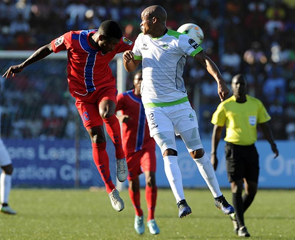 Solomon Mathe of Platinum Stars challenges  Wonder Nhleko of Mbabane Swallows during the  CAF Confederation Cup  match between Mbabane Swallows and Platinum Stars on 23 May 2017 at Somhlolo Stadium  © Sydney Mahlangu /BackpagePix
