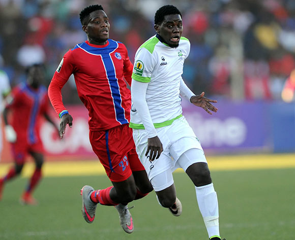 Benson Shilongo of Platinum Stars challenges  Gabriel Goshen of Mbabane Swallows during the  CAF Confederation Cup  match between Mbabane Swallows and Platinum Stars on 23 May 2017 at Somhlolo Stadium  © Sydney Mahlangu /BackpagePix