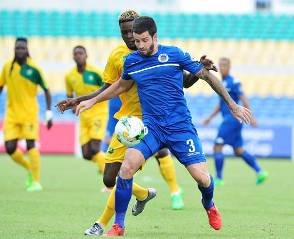 Keegan Ritchie of Supersport United challenged by Abdou Djamilou Atchabao of CF Mounana during the 2017 CAF Confederation Cup match between CF Mounana and Supersport United at the Libreville Stadium in Gabon on 23 May 2017 ©Samuel Shivambu/BackpagePix