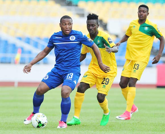 Thuso Phala of Supersport United challenged by Karl Mboudou of CF Mounana during the 2017 CAF Confederation Cup match between CF Mounana and Supersport United at the Libreville Stadium in Gabon on 23 May 2017 ©Samuel Shivambu/BackpagePix