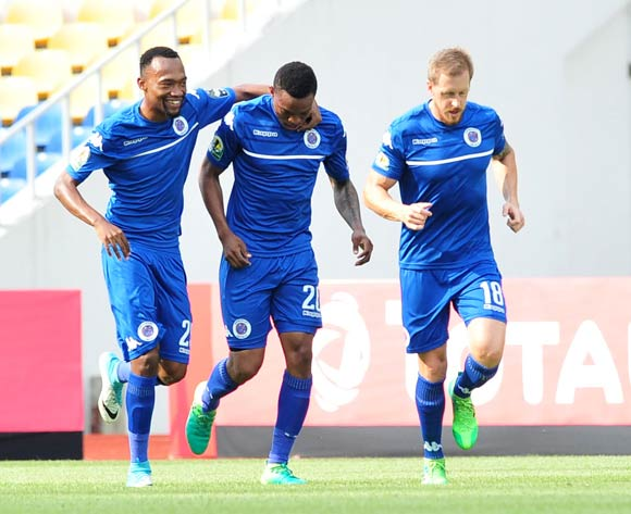 Grant Kekana of Supersport United celebrates a goal with teammates during the 2017 CAF Confederation Cup match between CF Mounana and Supersport United at the Libreville Stadium in Gabon on 23 May 2017 ©Samuel Shivambu/BackpagePix