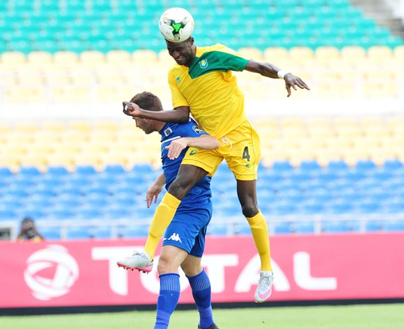 Bradley Grobler of Supersport United challenged by Bourama Coulibaly of CF Mounana during the 2017 CAF Confederation Cup match between CF Mounana and Supersport United at the Libreville Stadium in Gabon on 23 May 2017 ©Samuel Shivambu/BackpagePix