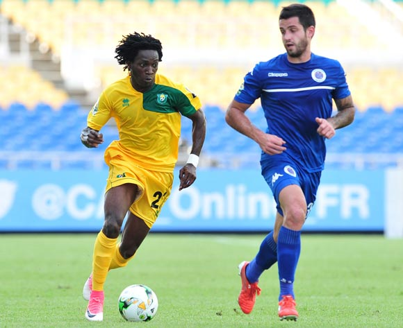 Louis Ameka Actchanga of CF Mounana challenged by Keegan Ritchie of Suprsport United during the 2017 CAF Confederation Cup match between CF Mounana and Supersport United at the Libreville Stadium in Gabon on 23 May 2017 ©Samuel Shivambu/BackpagePix